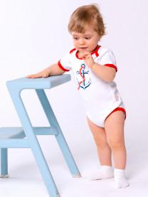 Боди футболка Якорь, белый/красный арт.1412/001/018