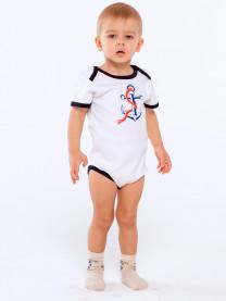 Боди футболка Якорь, белый/синий арт.1412/001/012