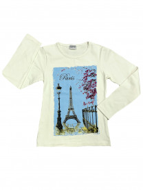 Футболка длинный рукав Париж, белая арт.4810/002