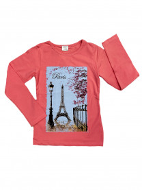 Футболка длинный рукав Париж, розовая арт.4810/005