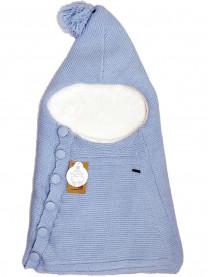 Конверт вязаный Цветы, голуб. арт. 6272/010