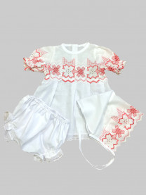 Крестильный комплект Лютик (платье, косынка, штанишки) арт. 0763