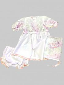 Крестильный комплект Лютик (платье, косынка, штанишки) арт. 0763/2