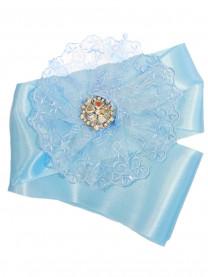 Лента атласная широкая, голубая (с гипюром и брошью) 1298/010