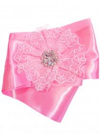 Лента атласная широкая, розовая (с гипюром и брошью) 1298/005