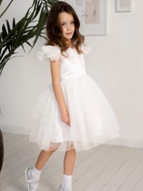 Платье нарядное с фатином, белый, арт. 1663/001