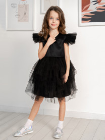 Платье нарядное с фатином, черный, арт. 1663/082