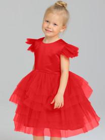 Платье нарядное с фатином, красный, арт. 1663/018