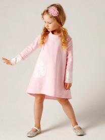 Платье футер с гипюром, розовое арт. 1562/005