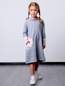 Платье футер с гипюром, серое арт. 1562/055/005