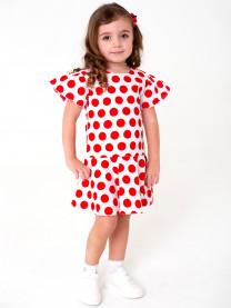 Платье, красный горох на белом арт.1567/015