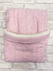 Плед вязаный, розовый арт. М008/005